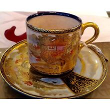 ANTIQUE HAND PAINTED CUP AND SAUCER SATSUMA MEJI PERIOD SIGNED