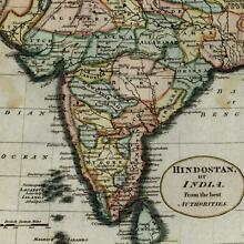India Hindostan from best authorities 18th century hand color old map