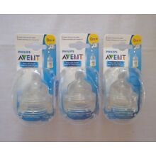 Philips Avent Newborn Flow Classic Anti-Colic Nipples Stage 1 3 Packs of 2 = 6