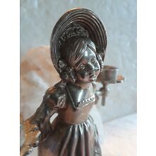VINTAGE VICTORIAN GIRL SILVER PLATED CANDLESTICK FIGURAL 50TH ERA