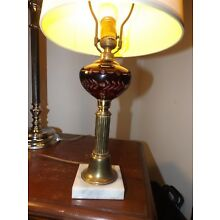 Beautiful Vintage Federal Style Wheel Cut Ruby Glass, Brass & Marble Table Lamp