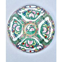 Chinese Antique Plate - RARE Famille Rose Medallion - Late 19th C. Guangxu Plate
