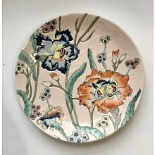 Antique Chinese Plate- Floral Enameled - Pink Red Green- Vintage Qing Dynasty