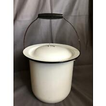 Vintage White Chamber Pot Enamel with Lid and Handle 9 1/2