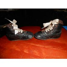 Old Black Fancy Cut Ribbon Lace Up Childrens Shoes
