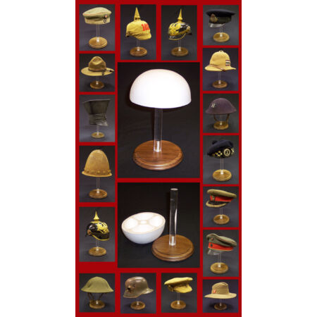 img-Display Stand With Wood Base Victorian British French US Spike Helmet Hat Cap