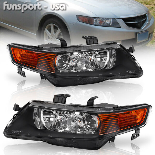 for 2004-2005 Acura TSX Black Projector Headlights Headlamps Assembly Left+Right