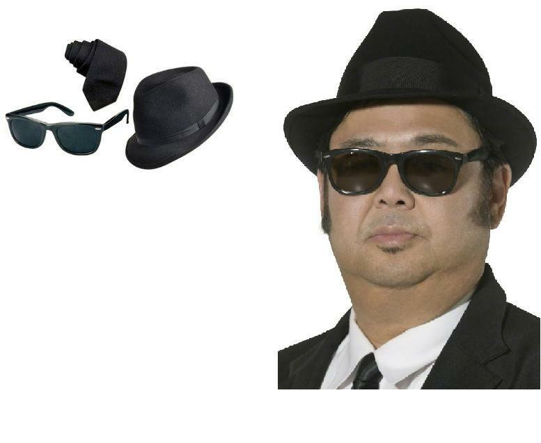 7c34f5cfe2 Details about Men s Blues Brothers Hat Glasses Sunglasses   Tie Fancy Dress  Costume 80 s Stag
