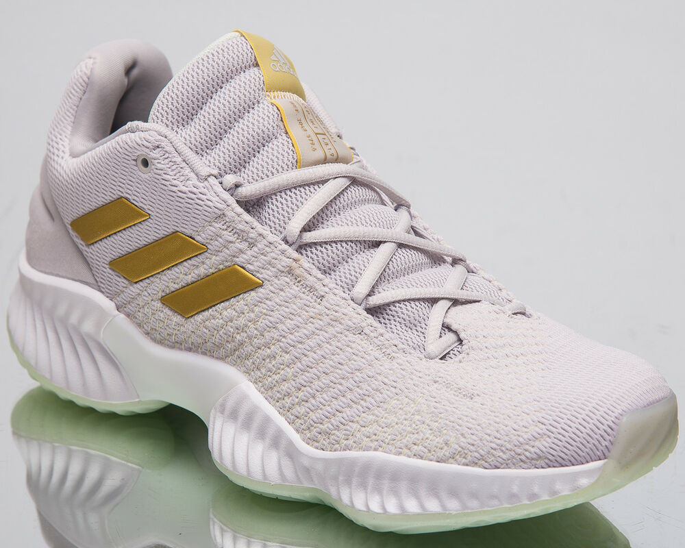 2d87d1b55b02 Details about adidas Pro Bounce 2018 Low Men s Basketball Shoes Grey One  Gold Sneakers B41863