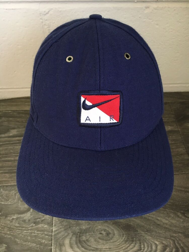 4ded9fc442b Nike Air Hat 90s Vintage Adjustable Box Logo Rare Blue Dad Cap Strap back  Swoosh