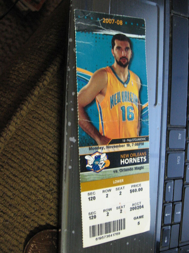 d71fe3827fa Details about FULL TICKET STUB NEW ORLEANS HORNETS v orlando magic 11/19/07  peja stojakovic