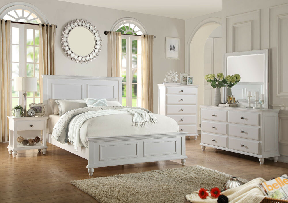 Contemporary Bedroom 4p Set Queen Size Bed Dresser Mirror & NS White ...
