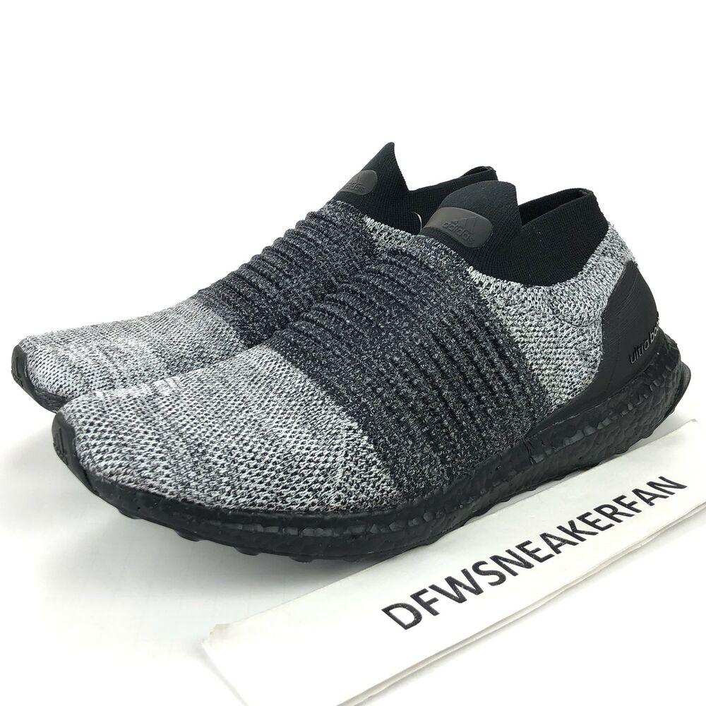 ec8d76359 Details about Adidas UltraBOOST Laceless Men s Size 7.5 Core Black Grey  Running Shoes BB6137