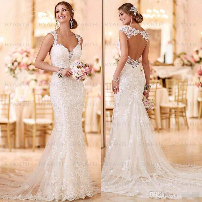 Sweetheart Neckline Lace Mermaid Wedding Dresses New 2019: Sexy Open Back Lace Mermaid Wedding Dresses 2019 Bride