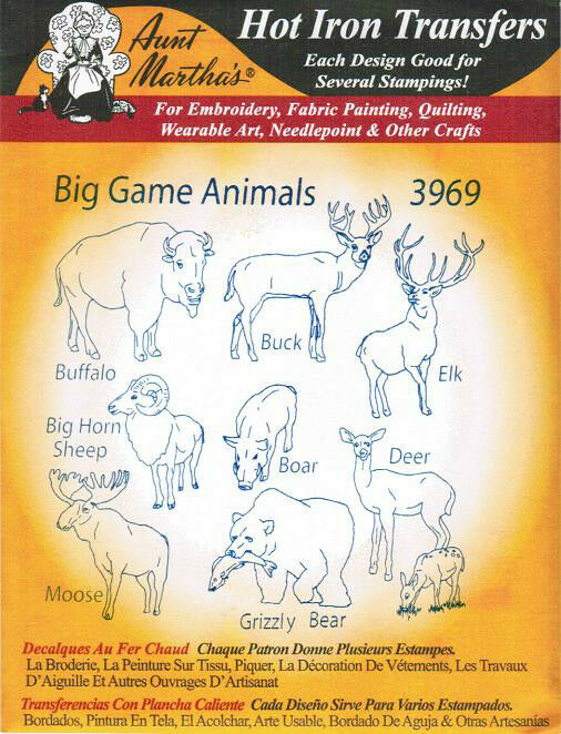 Big Game Hunting #3969 Aunt Martha\'s Hot Iron Embroidery Transfer ...