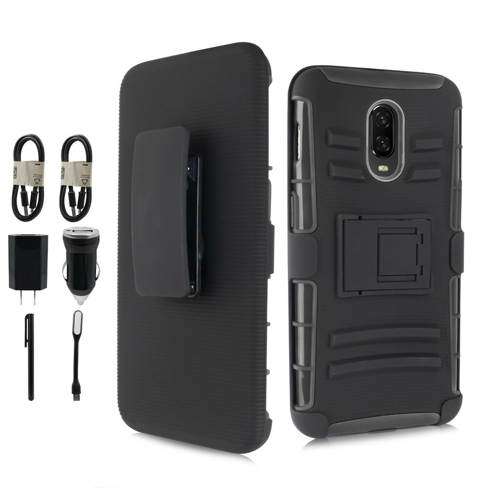 super popular f4ef8 5afb8 For OnePlus 6T Holster Hybrid Dual Layers Belt Clip Kickstand Case + ...