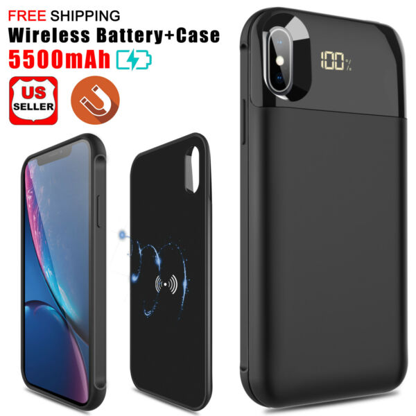 For iPhone X/XR/XS Max Qi Wireless Charging Battery Case Power Bank Charger Case