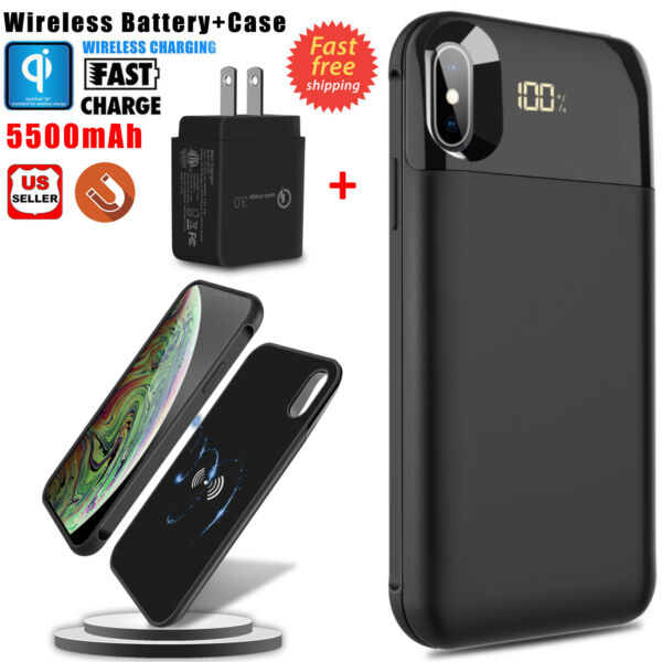 For iPhone X /XR / XS Max Qi Wireless Battery Case Power Bank+QC3.0 Fast Charger