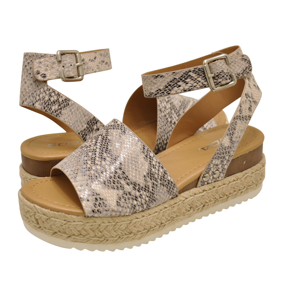 24dadd90cb22 Details about Women s Shoes Soda TOPIC Platform Wedge Espadrille Sandals BEIGE  PYTHON