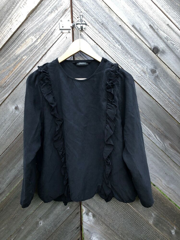 d2b31ca9752f3 Zara Silk Black Shirt Premium Collection Small Ruffles