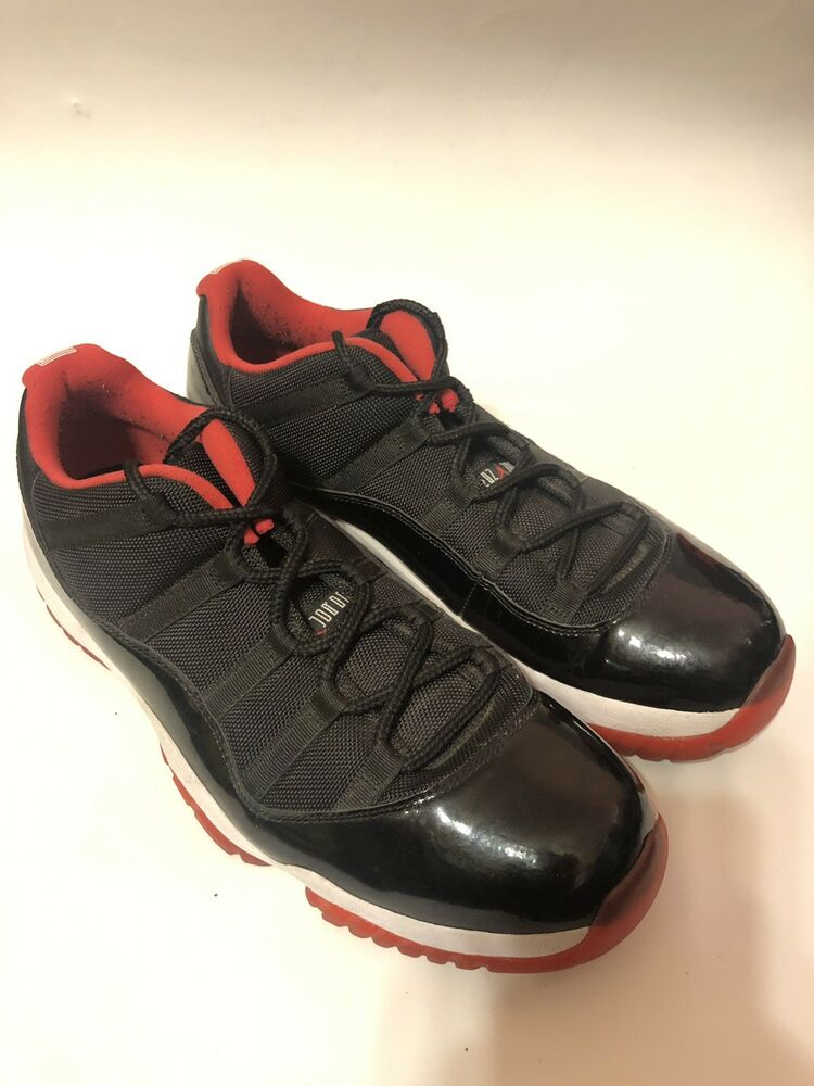Details about Nike Air Jordan 11 XI Retro Low Bred Black Red Mens Size 13  528895-012 fee9a4d61