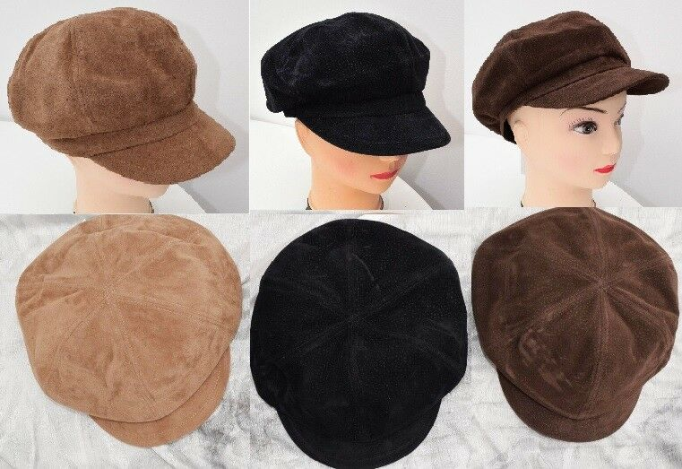 240f282b0fec2 Ladies flat cap hat Peaky Blinders country faux suede velvet Baker boy NEW