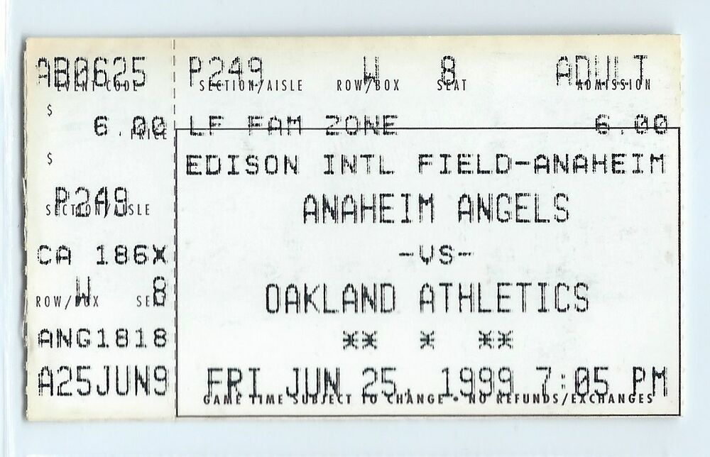 Jason Giambi home run #87 ticket stub Oakland A's at California Angels  6/25/1999 | eBay