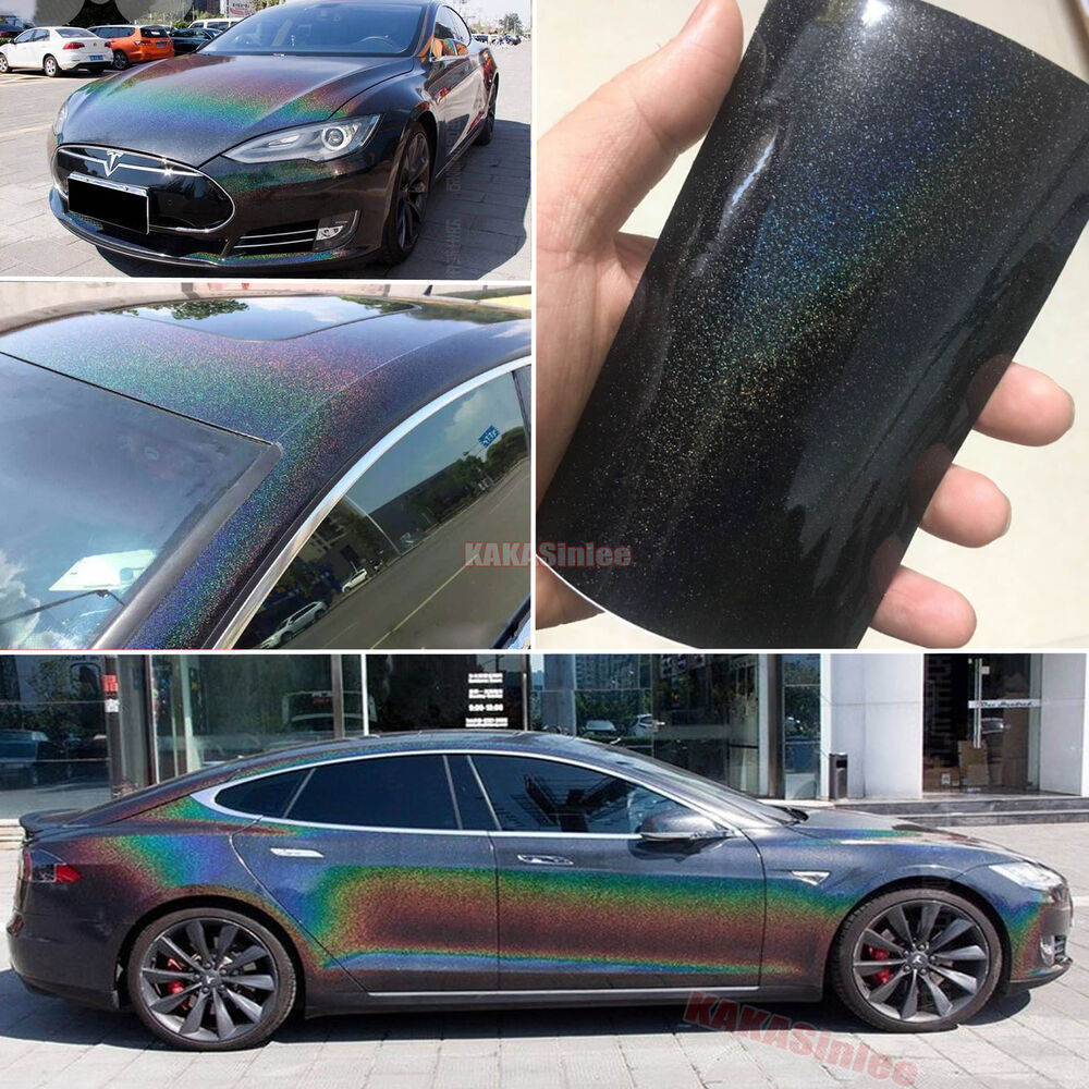 Details about black glossy car laser holographic rainbow magic chrome vinyl wrap sticker ab