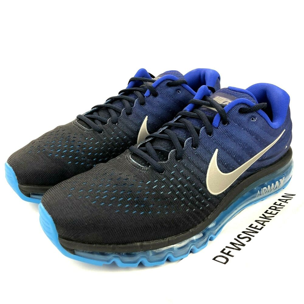 brand new 24f81 19f09 Details about Nike Air Max 2017 Men s 7  Women s 8.5 Running Shoes Obsidian  Blue 849559-400