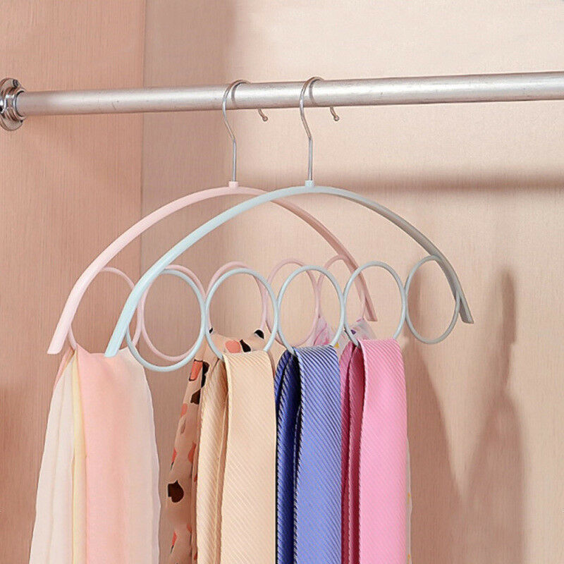 Details About 5ring Scarf Holder Tie Hanger Belt Closet Clothes Organizer Hook Storage Convien