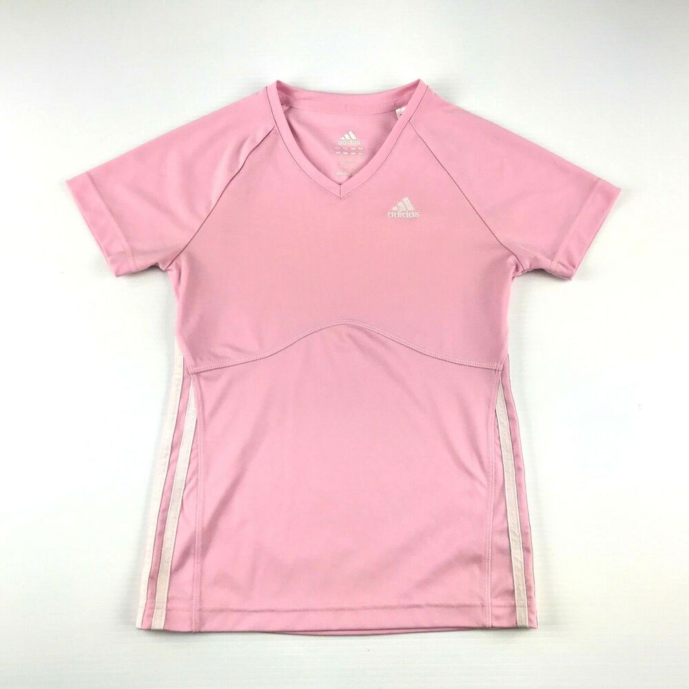 6f478c1997a Details about Adidas Womens Pink 3 Stripe V Neck Short Sleeve Athletic Shirt  XS