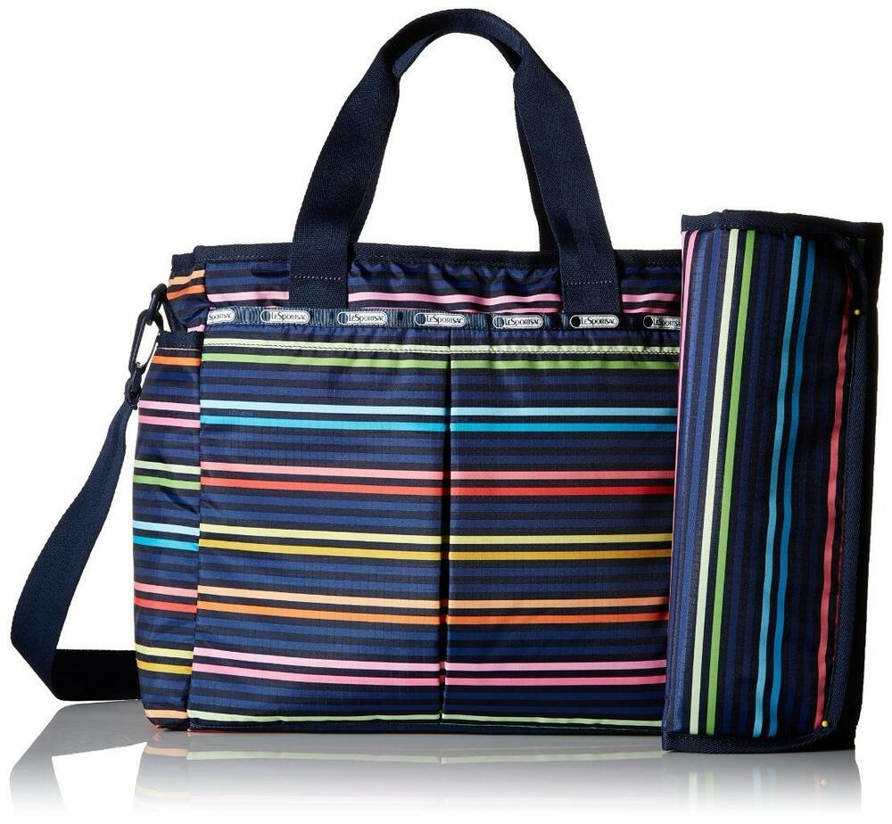 3c30a517b Details about LeSportsac Baby Lestripe Rainbow Ryan Diaper Bag Tote  Changing Pad $150 #4262