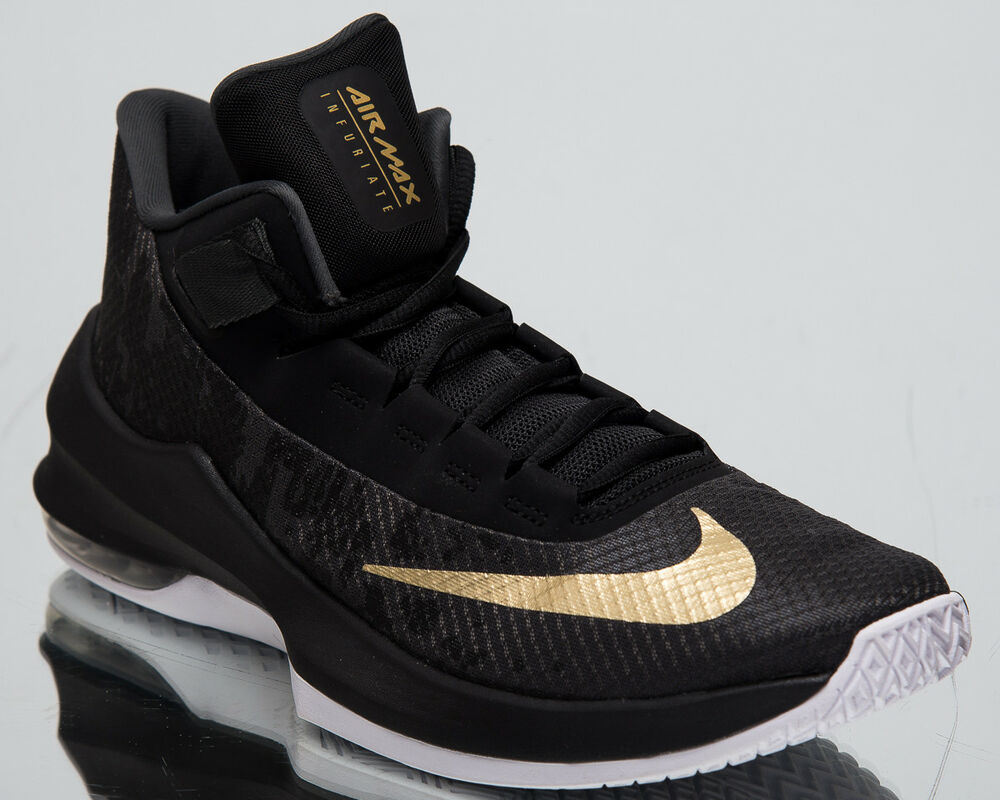 6e74db79379 Details about Nike Air Max Infuriate 2 Mid New Men s Basketball Shoes Black  Gold AA7066-002