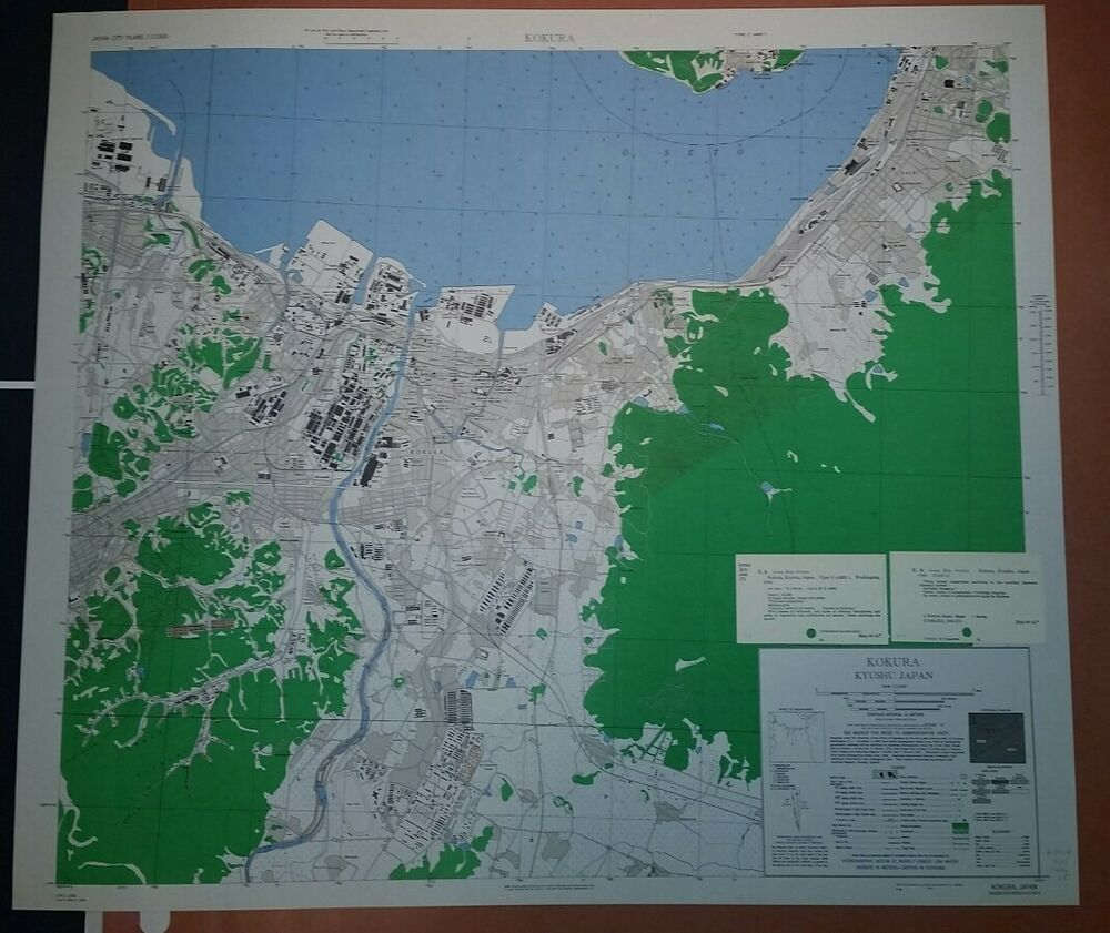Kokura Japan Map.1945 Us Army Map City Plan Of Kokura Kyushu Japan 1 12 500 2
