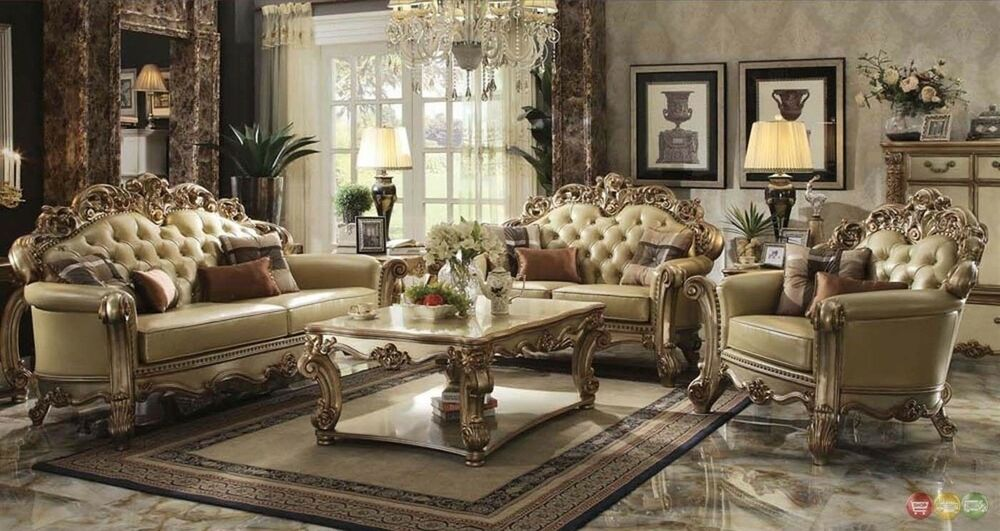 Vendome Traditional Gold Patina 3 pc Formal Living Room Set Carved ...