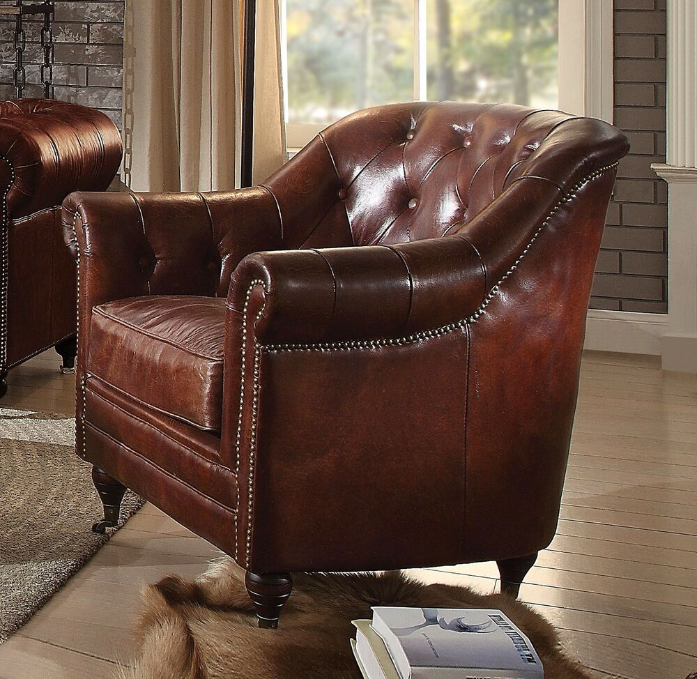 Details About New Alastair Vintage Chesterfield Chair In Dark Brown Top  Grain Genuine Leather