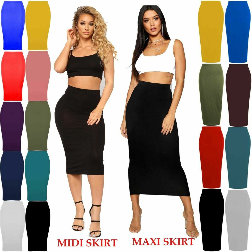 Women Ladies Turn Up Waist Long Plain Jersey Flared Maxi Skirt Plus Size Uk 8-26