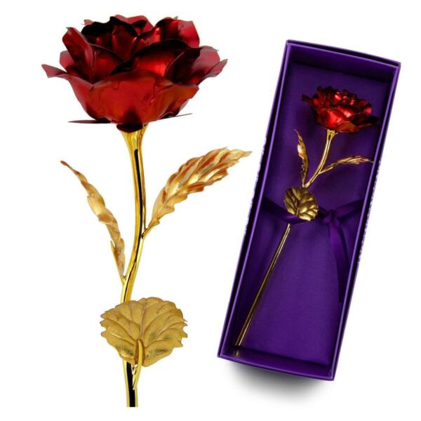 Valentines Day Red Rose Gift For Her Long Stem Dipped 24K Gold Artificial Flower
