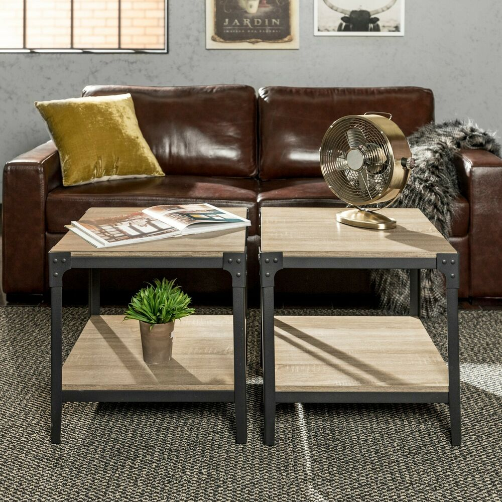 Details about end tables living room set of 2 side table couch end table bedroom wood metal