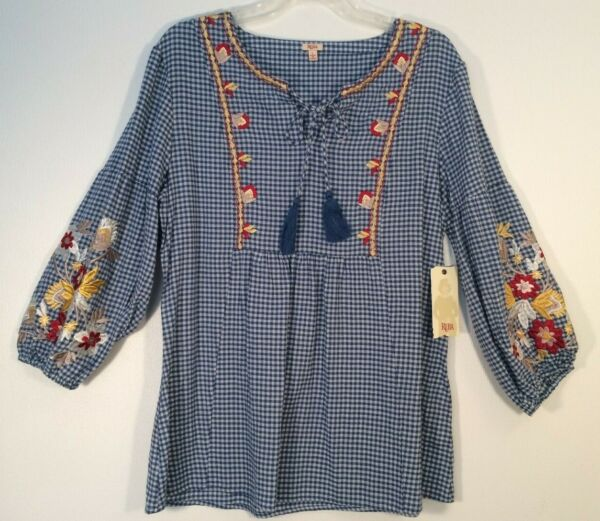 NWT Womens REBA Nashville Star GINGHAM Embroidered SPRING Top L XL $88 MSRP New