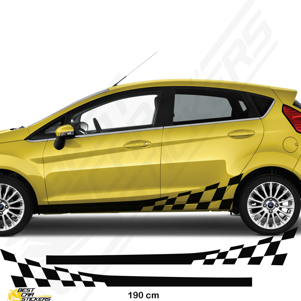 Details about side car stripes for ford fiesta car decal graphics tuning car stickers
