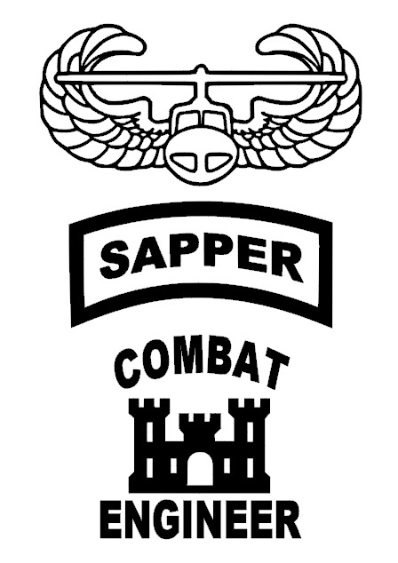 Sapper Combat Engineer Air Assault Vinyl Window Sticker Decals 3x