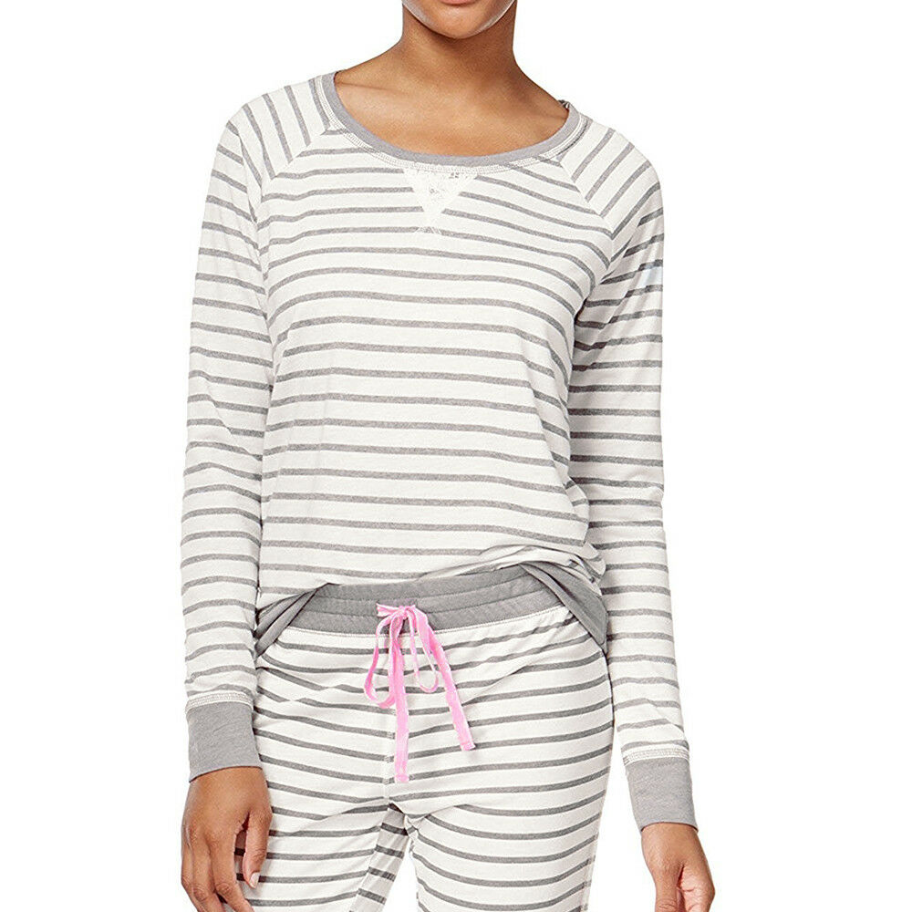 df47a246015 Details about New XS JENNI Jennifer Moore Striped Raglan Pajama Top Womens  W Lace Long Sleeve