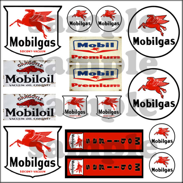 MOBIL OIL GAS 1:87 HO SCALE BUILDING GASOLINE GAS STATION SIGNS DECALS