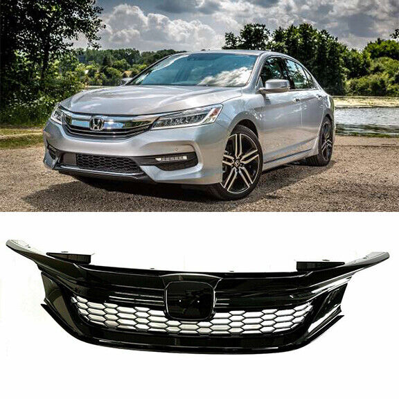 Details About Fit For 2016 2017 Honda Accord Sedan Front Grille Honeycomb Gloss Black