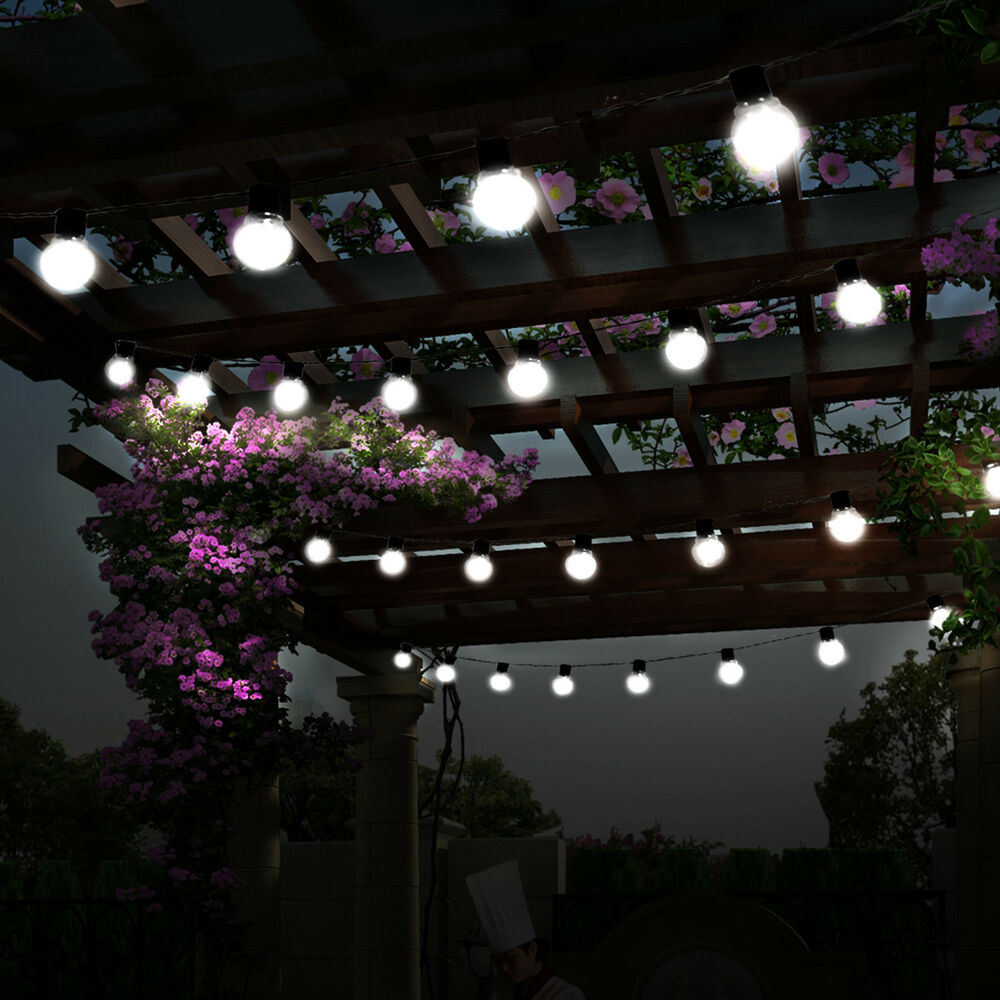 Details About Led Solar String Ball Lights Outdoor Waterproof Warm White Garden Decor Xmas Us