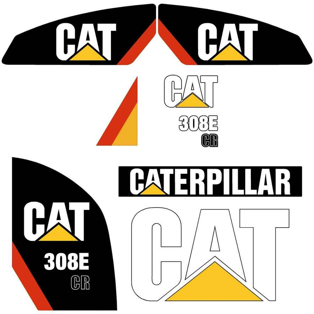Details about cat 308e 2 cr decals stickers repro excavator decal kit