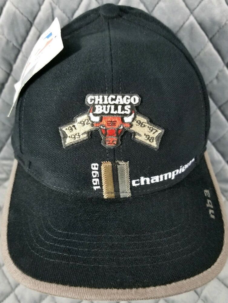 Details about Vintage 1998 Chicago Bulls Black NBA Champions Adjustable Hat  Cap Basketball 51aad44d47