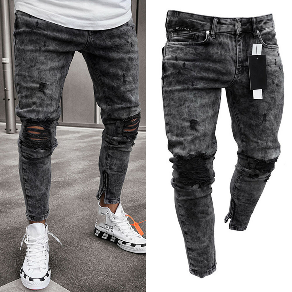 f2f440586d63 Details about Men Skinny Jeans Pants Destroyed Stretchy Biker Ripped Slim  Long Denim Trousers
