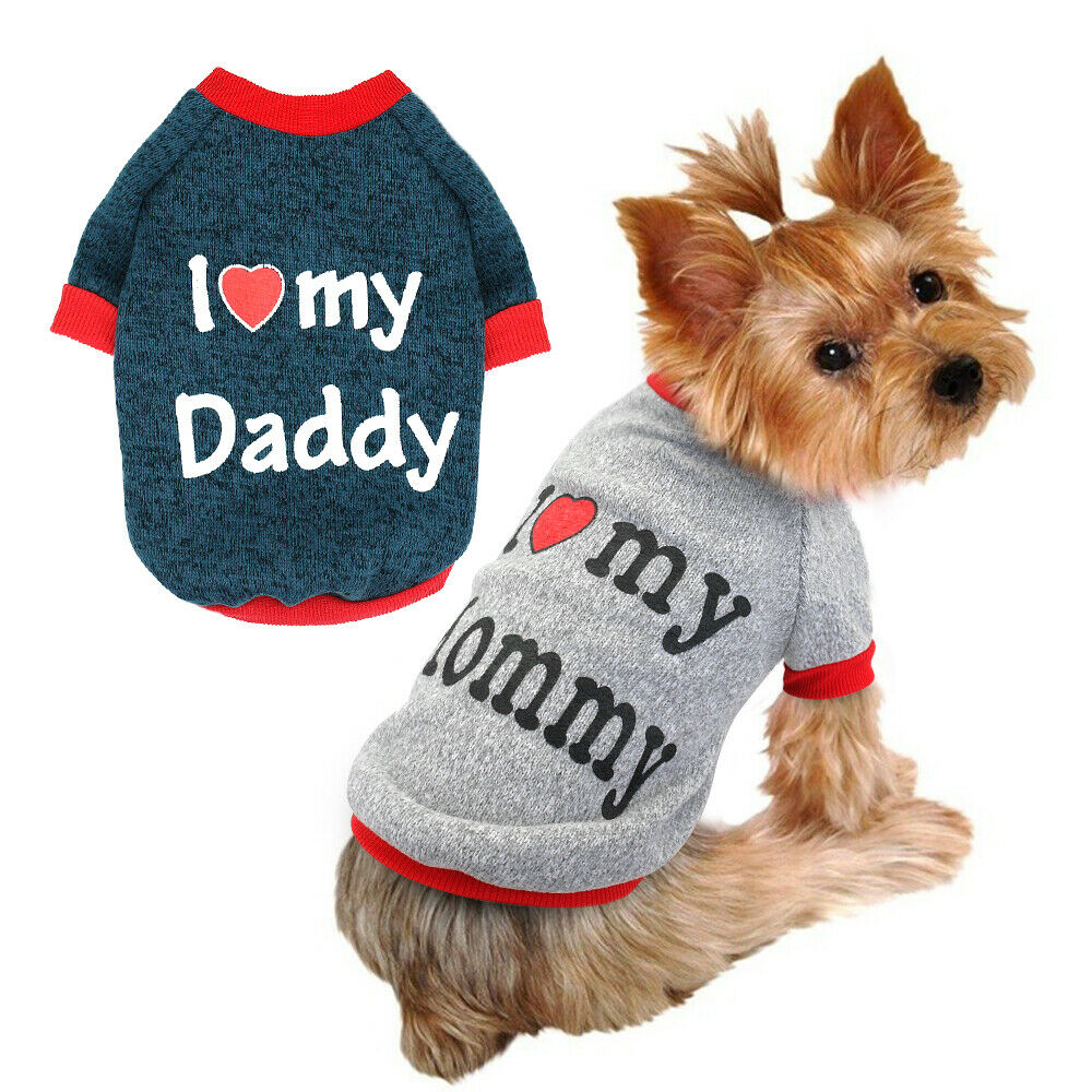 ca36cbe2a5f Details about Cozy Dog Sweater I Love My Mommy Daddy Small Dogs Puppy  Clothes Coat Jumper XS-M
